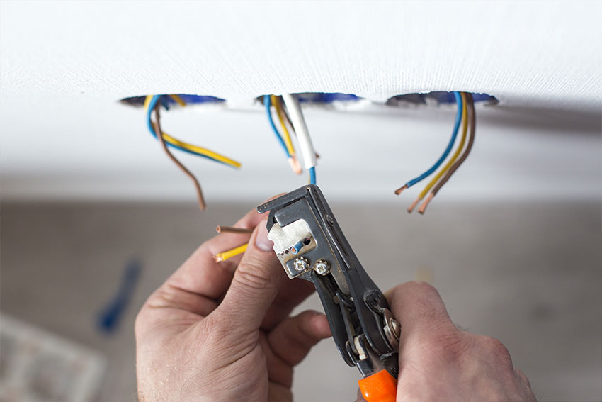 electrician working on commercial premises
