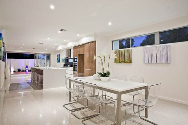led lighting installation in dining room and kitchen